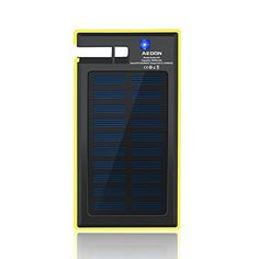 Introducing Aedon Solar Battery Charger 10000mAh Energy Solar Power Bank Dual USB Travel Charger Fast Charging Built in LED Light Cell Phone Stand Holder for iPhone Samsung black  yellow. Great Product and follow us to get more updates!