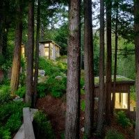 This duo of cabins nestled within a forest in Mill Valley near San Francisco were designed by Feldman Architecture to accompany an existing residential dwelling. The Mill Valley Cabins were built primarily to provide additional recreation. Home Design, Cabin Design, Interior Design, Design Ideas, Cabin In The Woods, Cottage In The Woods, Mill Valley California, California Usa, California Bungalow