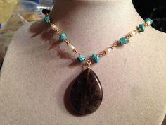 Turquoise Necklace  Gold Jewelry  Gemstone Jewellery  by cdjali