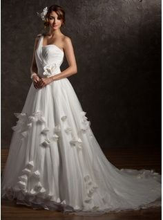 A-Line/Princess One-Shoulder Court Train Satin  Tulle Wedding Dresses With Ruffle (002006373)