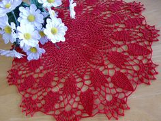 Round Doily with Tulips skr49 by AlpachHandMade on Etsy, $26.85