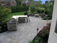 Landscape lighting on this project included Hanover Lantern Pathlights and Kichler LED Step Lights and Kichler LED Directional Lights operated by a wireless remote from anywhere in the house.