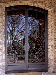 A Wrought Iron Art Nouveau Door With Copper Stars by Potter Art Metal Studios Cool Doors, Unique Doors, Entrance Doors, Doorway, Mediterranean Front Doors, Copper Ceiling Fan, Art Nouveau, Wrought Iron Doors, Iron Art
