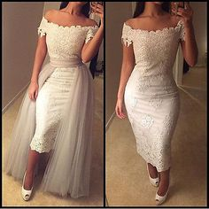 OFF The Shoulder Sheath Short Wedding Dress Detachable Tail Lace Wedding Gowns in Clothing, Shoes & Accessories, Wedding & Formal Occasion, Wedding Dresses   eBay
