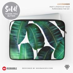 Just sold a Laptop Sleeve with my artwork titled 'Cosmic Banana Leaf'! Order yours or see all #redbubble products carrying this design here:  https://www.redbubble.com/people/83oranges/works/22435296-cosmic-banana-leaves-redbubble-lifestyle?asc=u&p=laptop-sleeve