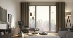 Silent Gliss Metropole with Wave finish this modern lounge design. Lounge Curtains, Wave Curtains, Curtains With Blinds, Curtain Track System, Heavy Weight Curtains, Traditional Curtains, Contemporary Curtains, Lounge Design, Modern Lounge