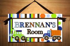 Bright Blue, Orange and Green Construction Truck Boys Bedroom Baby Nursery DOOR SIGN Wall Art