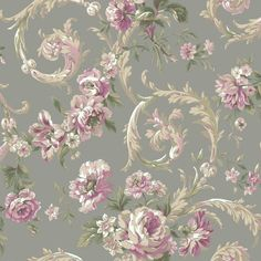 Rococco Floral Wallpaper in Pink and Silver design by York Wallcoverings