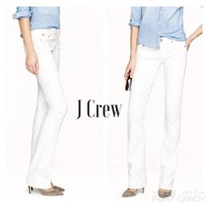 NWT $115 J CREW Bootcut jean white Bootcut leg white jeans perfect for the summer! 5 pocket styling, 98%cotton and 2% elastane giving just a bit of stretch. Approximative measurements in inches: inseam 32, rise 8, waist 34. Size 27 regular. Item is NWT, retail 115USD. Please take notice that because of store display the ends are a bit dirty, as shown in last pic. There should be no issue getting them perfectly clean with a wash!  J. Crew Jeans Boot Cut
