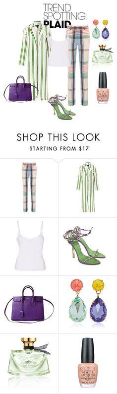 Plaided Up! by simplystatuesqu on Polyvore featuring Topshop, Victoria Beckham, Dsquared2, Yves Saint Laurent, Roxanne Assoulin, Bulgari and OPI