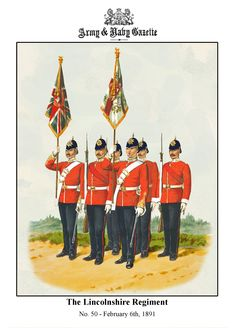 "Colour party of the Lincolnshire Regiment 1891. by Richard Simkin from ""Types of the British Army"""
