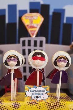 Super hero cookie pops