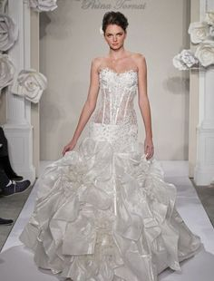 Sweetheart Mermaid Wedding Dress  with Dropped Waist in Silk Taffetta. Bridal Gown Style Number:32614224