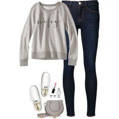 Sweatshirt & converse by steffiestaffie on Polyvore featuring Frame, Converse, Chloé, Marc by Marc Jacobs and MAC Cosmetics
