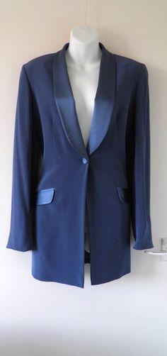 VTG 90s HAMELL Satin Tuxedo Trim Shawl Collar Evening Jacket Women Ladies Mod 12 05.50