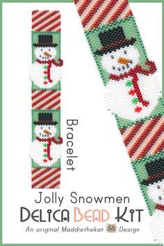 Jolly Snowmen Bracelet Delica Peyote Bead Pattern or KIT DIY Christmas Snowman
