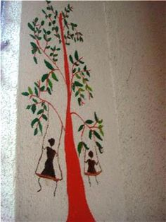 Wall art - Warli mural in my balcony wall....Mother and daughter having fun time swinging!