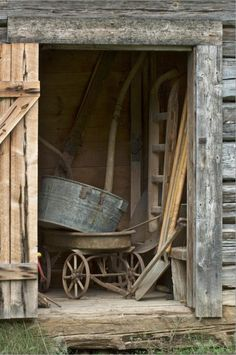 Farm:  Weathered old #shed and #farm #tools.