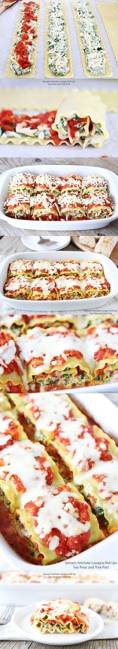 Spinach Artichoke Lasagna Roll Ups #dinner #pasta