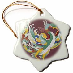 3dRose Chinese Phoenix, Snowflake Ornament, Porcelain, 3-inch