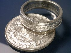 CANADA 50 CENT Coin Ring 50% Silver Reverse Orientation Polished finish Choose The (YEAR and RING SIZE) You Want. These unique Coin Rings are