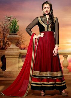 Red Layered Ankle Length Anarkali