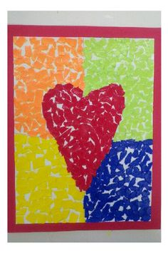 A Valentine Mosaic {Miss Misty's Art Class} – Momista Beginnings Kindergarten Art Projects, Classroom Art Projects, Art Classroom, Kindergarten Classroom, Valentine Theme, Valentine Day Crafts, 4th Grade Art, Art N Craft, Art Lessons Elementary