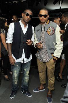 Fabolous & Chris Brown wearing Varsity Jacket