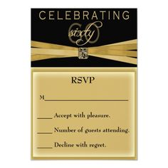 Elegant 60th Birthday Party Invitations RSVP Card Invitation Cards Invite