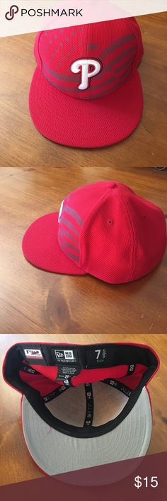 MLB hat Philadelphia Phillies Gently used fitted hat.  Make an offer or ask a question.  15% off if you bundle 2 items. New Era Accessories Hats