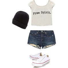 Skater girl by gracerankcom on Polyvore featuring polyvore fashion style Wet Seal rag & bone/JEAN Converse Maine New England