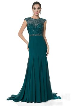 Teal Fit and Flare Crystal Beaded Illusion Cap Sleeve Chiffon Ball Dress