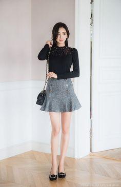 Korean Women`s Fashion Shopping Mall, Styleonme. Asian Fashion, Look Fashion, Girl Fashion, Fashion Outfits, Womens Fashion, Asian Woman, Asian Girl, Korean Model, Beautiful Legs