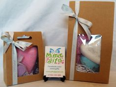 Gift boxed pamper items. Small is ££2.50. Larger is £5.  mimicgifts@gmail.com