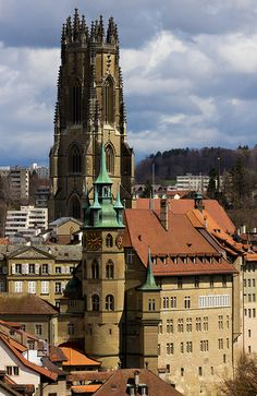 historic Fribourg with a view to St. Nicolas cathedral, southwest of Bern Switzerland Bern, Places In Switzerland, Swiss Chalet, Swiss Alps, Zermatt, Winterthur, Places Around The World, Around The Worlds, Basel