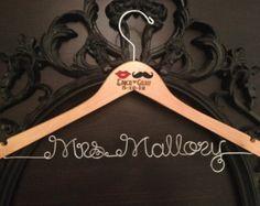 Mustache & Lips Wedding Hanger, Bridal Hanger, Personalized Hanger, Lips and Mustache, Bride Hanger, Mrs. Hanger, Custom Wedding Hanger