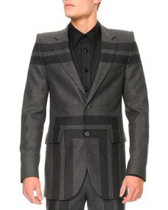 Wool+Geometric-Detail+Jacket,+Gray++by+Alexander+McQueen+at+Neiman+Marcus.