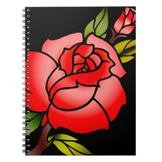 vintage rose tattoo spiral notebook | Zazzle