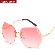6d5c66bc4ef Peekaboo vintage frameless sunglasses women clear lens yellow pink rimless  sun glasses female summer style metal