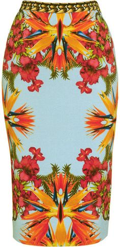 Givenchy tropical floral scarf print skirt