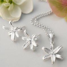 Silver Lily Flower Star Stud Earrings
