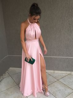 Vestido rose longo, vestido com fenda, vestido de festa longo, vestidos Cut Out Prom Dresses, Prom Dresses Long Pink, Cheap Prom Dresses, Satin Dresses, Bridesmaid Dresses, Formal Dresses, Dress Prom, Dresses Uk, Club Dresses