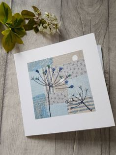Print of an original textile artwork Freehand Machine Embroidery, Free Motion Embroidery, Free Machine Embroidery, Fabric Cards, Fabric Postcards, Paper Cards, Hand Made Greeting Cards, Making Greeting Cards, Greeting Cards Handmade
