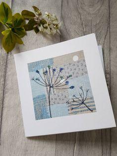 Cow parsley card, cow parsley art, greeting card, textile print card, blank card, botanical art, botanical card, contemporary card