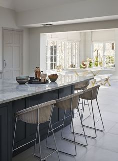The extension is defined by two large lantern lights in the roof; one over the kitchen and one in the adjacent living/dining/garden-access space, allowing both rooms to be flooded with light from above. Little Kitchen, Green Kitchen, New Kitchen, Kitchen Ideas, Custom Kitchens, Bespoke Kitchens, House Extension Plans, Kitchen Diner Extension, Family Room