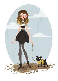 Zoella and Nala Zoella Beauty, Pugs And Kisses, Muse Art, Pug Love, Best Youtubers, Illustration Art, Doodles, Fan Art, Drawings