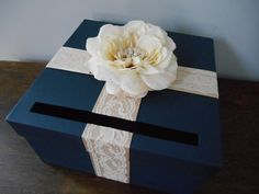 Navy Wedding Card Box with Champagne and Ivory by astylishdesign