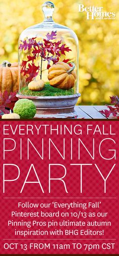 Our Fall Pinning Party kicks off at 11am CST! Tune in and repin your favorite ideas to join the fun. Click through to follow BHG!