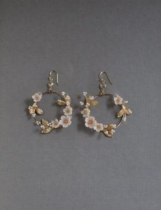Bridal Statement Earrings Floral Bridal Earrings Statement Hoop Earrings h Ear Jewelry, Cute Jewelry, Jewelery, Jewelry Ideas, Dainty Jewelry, Women's Jewelry, Beaded Jewelry, Jewelry Drawer, Jewelry Making