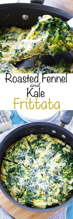 A healthy way to start your day! This frittata is packed with tons of kale, sweet roasted fennel, and romano cheese for a quick and tasty breakfast.